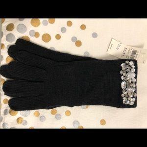 NWT Ann Taylor Black Knit Gloves Jeweled Embellish